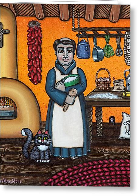 Priests Greeting Cards - St. Pascual Making Bread Greeting Card by Victoria De Almeida