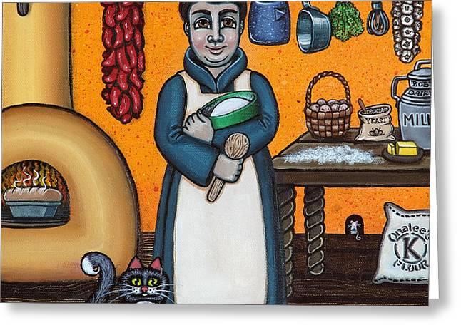 St. Pascual Making Bread Greeting Card by Victoria De Almeida