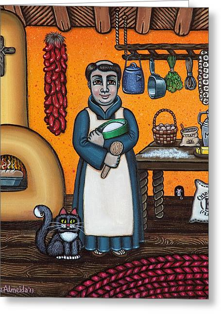Hispanic Artists Greeting Cards - St. Pascual Making Bread Greeting Card by Victoria De Almeida