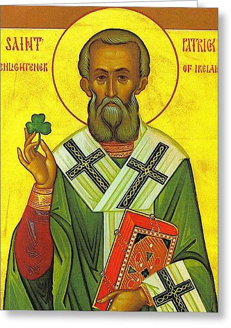St Patrick And The Shamrock Greeting Card by Pam Neilands