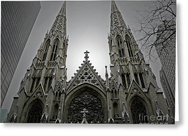Neo-gothic-style Greeting Cards - St. Patricks Cathedral  Greeting Card by Angela Wright