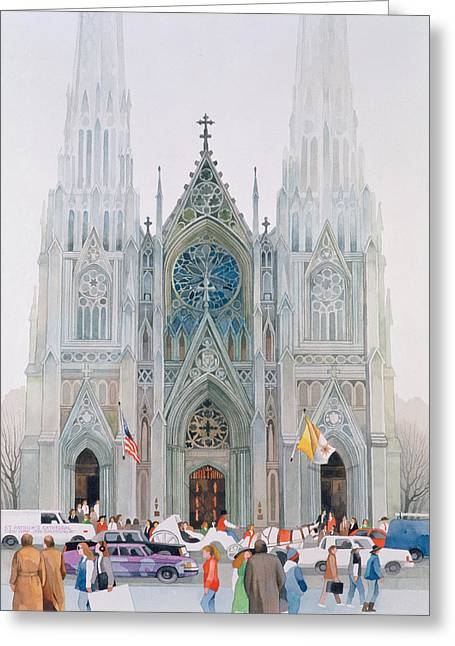 Midtown Greeting Cards - St. Patricks Cathedral, New York, 1990 Wc On Paper Greeting Card by Myung-Bo Sim