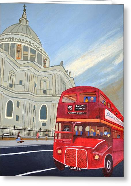 Magdalena Frohnsdorff Greeting Cards - St. Paul Cathedral and London bus Greeting Card by Magdalena Frohnsdorff