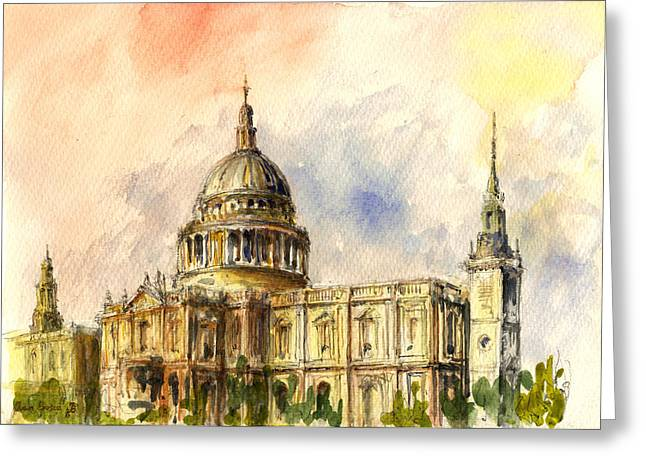 Church Street Greeting Cards - St Paul Cathedral Greeting Card by Juan  Bosco