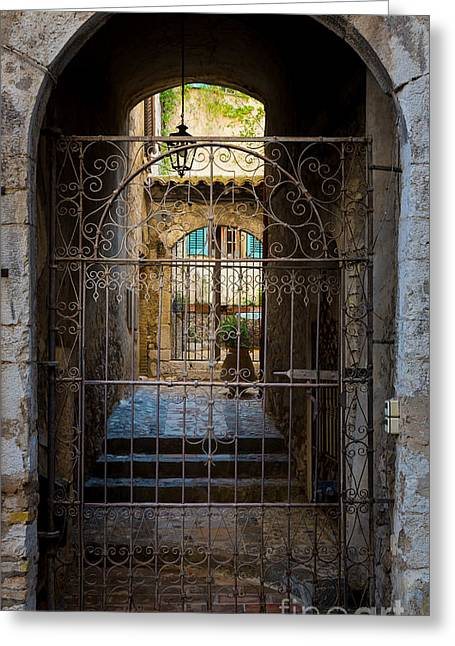 Vence Greeting Cards - St Paul Courtyard Greeting Card by Inge Johnsson