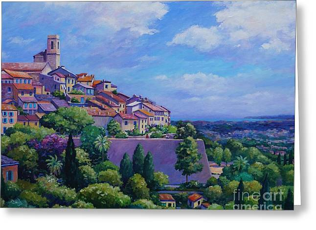 Town Walls Greeting Cards - St Paul de Vence  20x16 Greeting Card by John Clark