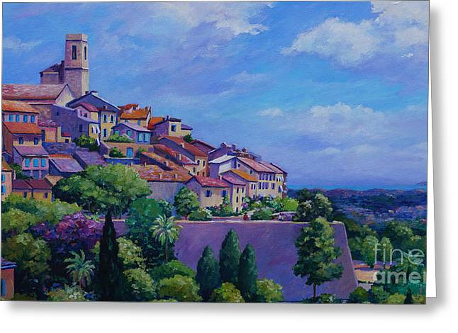 Antibes Greeting Cards - St. Paul de Vence Panoramic Greeting Card by John Clark