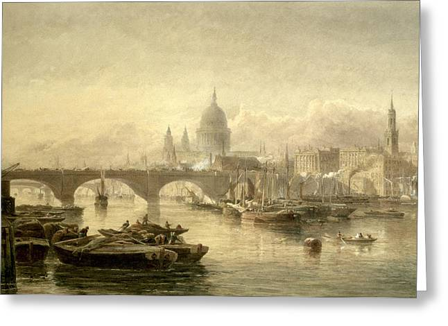 Barge Greeting Cards - St Paul s Cathedral and London Bridge from the Surrey Side Greeting Card by Edward Angelo Goodall
