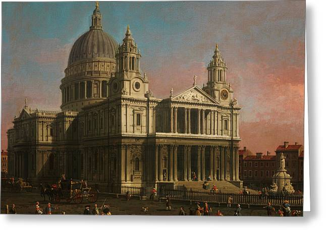 Constable Greeting Cards - St  Paul s Cathedral Greeting Card by MotionAge Designs