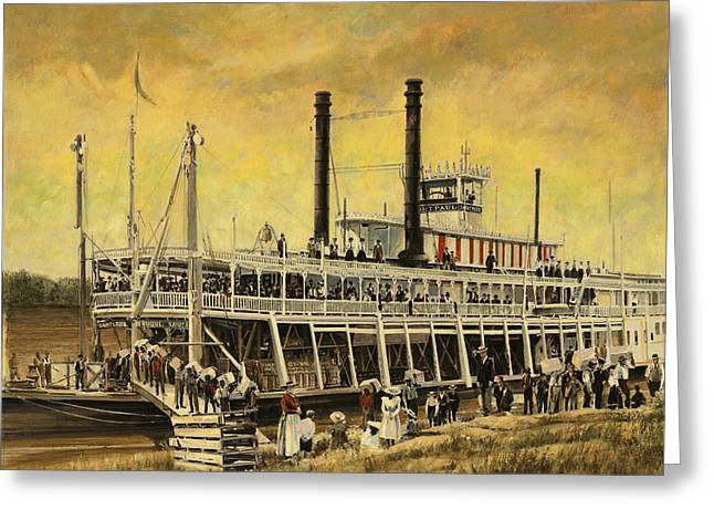Steam Ship Greeting Cards - St. Paul Steamboat Greeting Card by Don  Langeneckert