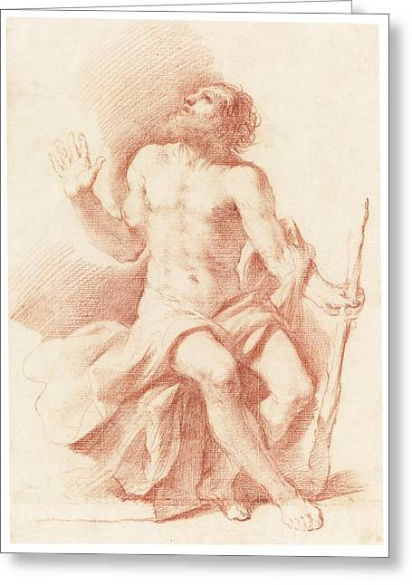 Giovanni Francesco Barbieri Greeting Cards - St Paul The Hermit Greeting Card by Celestial Images