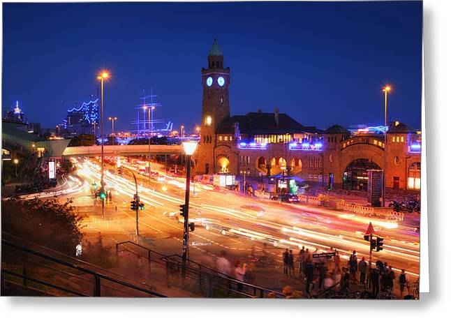 Landing Stage Greeting Cards - St. Pauli Landing Stages at night Greeting Card by Marc Huebner
