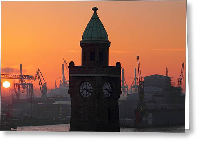 Landing Stage Greeting Cards - St. Pauli Landing Stages Sunset Greeting Card by Marc Huebner