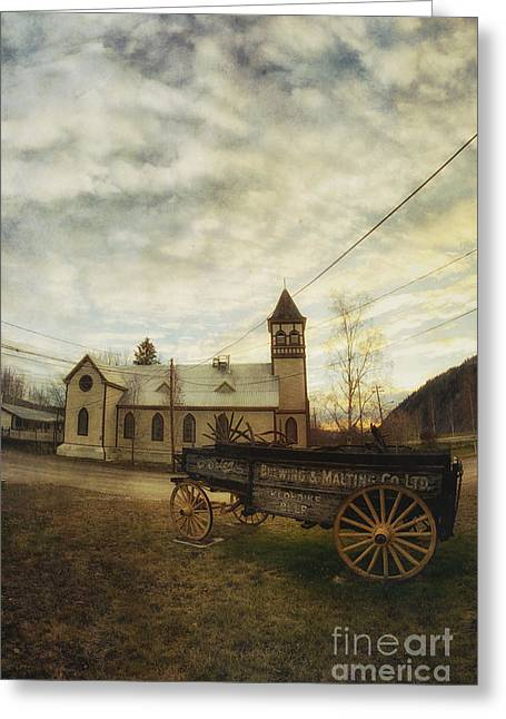Goldrush Greeting Cards - St. Pauls Anglican Church with Wagon  Greeting Card by Priska Wettstein