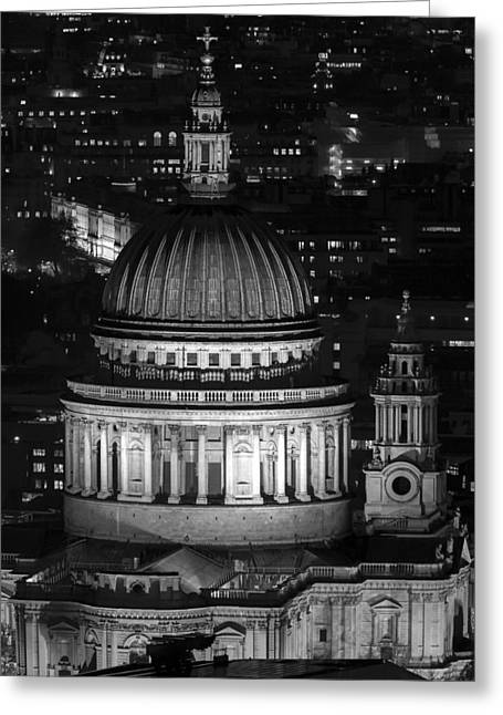 From The Dome Greeting Cards - London St Pauls at night Greeting Card by Andy Myatt