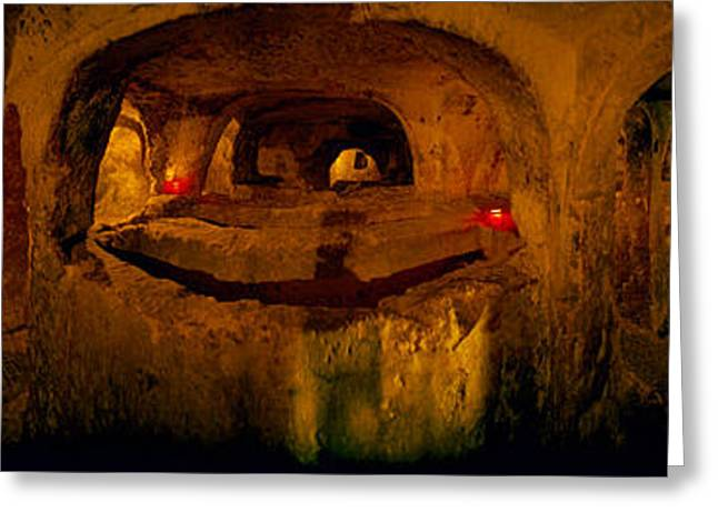 Maltese Photographs Greeting Cards - St. Pauls Catacombs, Rabat, Malta Greeting Card by Panoramic Images