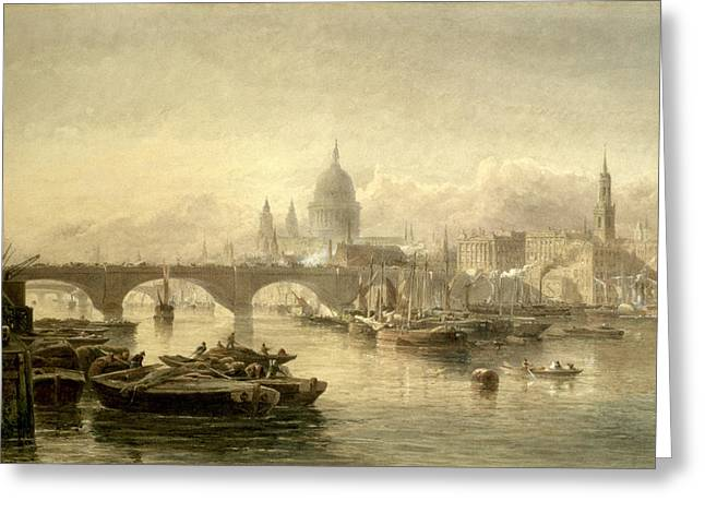 Barge Greeting Cards - St. Pauls Cathedral And London Bridge Greeting Card by Edward Angelo Goodall