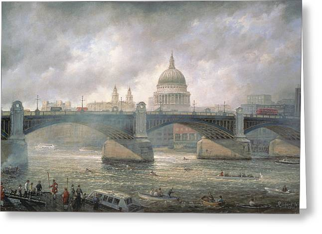 Thames River Greeting Cards - St. Pauls Cathedral from the Southwark Bank Greeting Card by Richard Willis