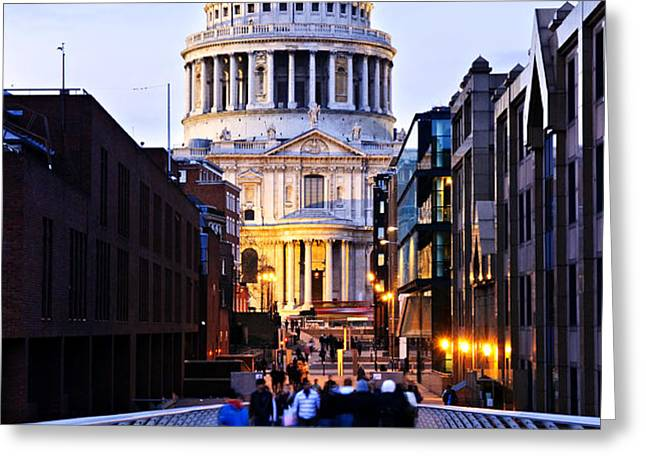 St. Paul's Cathedral London at dusk Greeting Card by Elena Elisseeva
