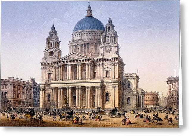 Traffic Drawings Greeting Cards - St Pauls Cathedral, Print Made By Ch Greeting Card by Achille-Louis Martinet