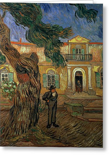 Saint-remy De Provence Greeting Cards - St. Pauls Hospital, St Remy, 1889 Oil On Canvas Greeting Card by Vincent van Gogh