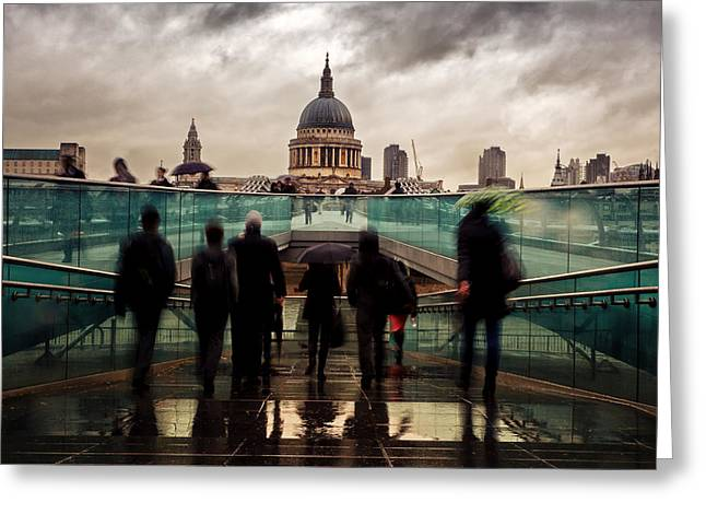 Dome Greeting Cards - St Pauls in the rain Greeting Card by Jane Rix