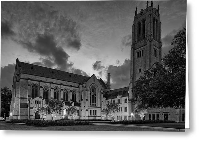 Religious Art Photographs Greeting Cards - St. Pauls United Methodist Church in BW - Houston Texas Greeting Card by Silvio Ligutti