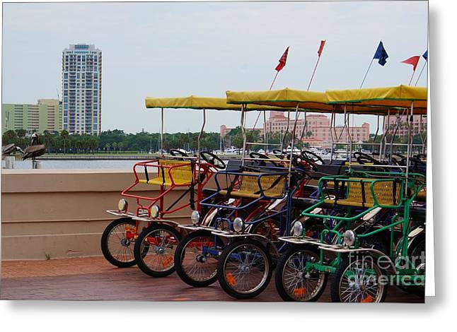 Toasting Pyrography Greeting Cards - St. Pete Pier Bikes Greeting Card by Gail Kent
