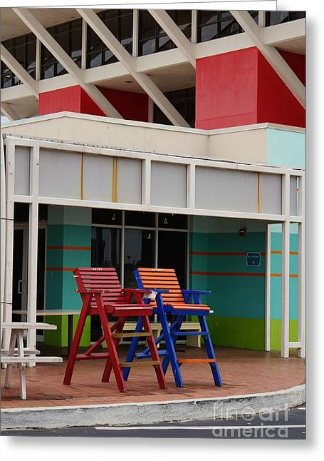 Nole Greeting Cards - St. Pete Pier Guard Chairs Greeting Card by Gail Kent