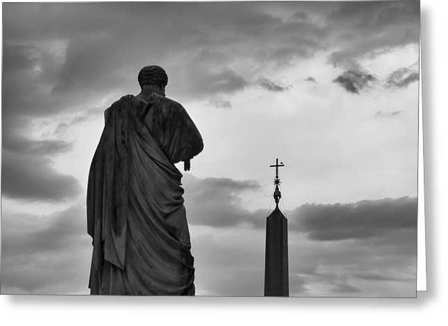 Backlit Prints Greeting Cards - St. Peter and the Obelisk Greeting Card by Kyle Wasielewski