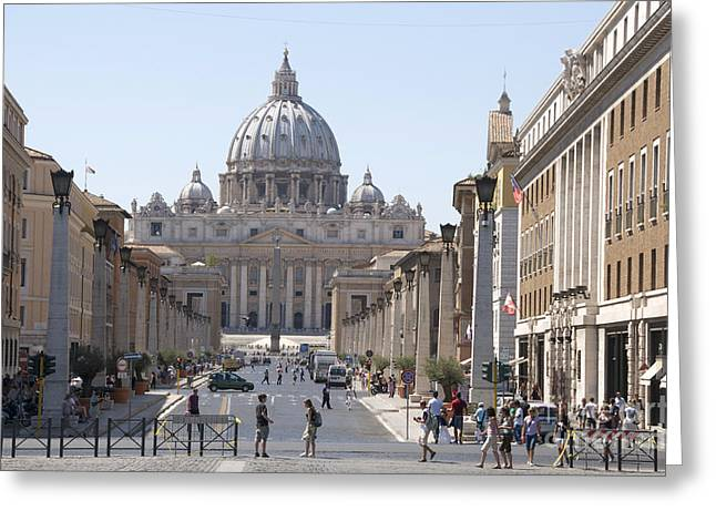 Southern Italy Greeting Cards - St Peter Basilica viewed from Via della Conciliazione. Rome Greeting Card by Bernard Jaubert