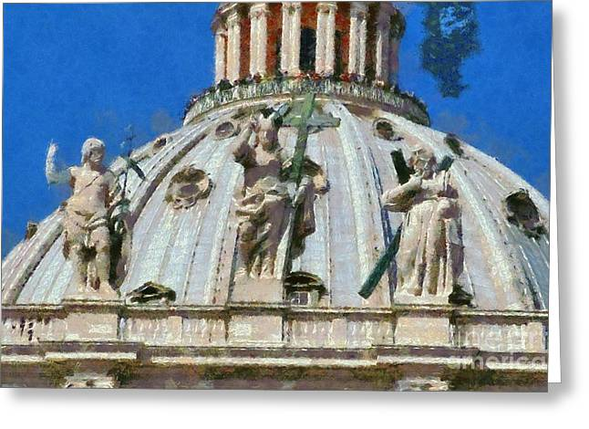Journey Greeting Cards - St Peter dome in Vatican Greeting Card by George Atsametakis