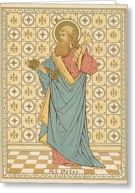 Prayer Drawings Greeting Cards - St Peter Greeting Card by English School