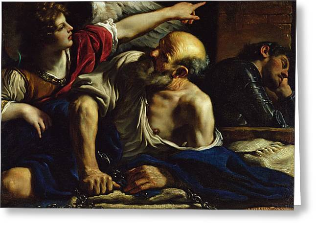 Prison Greeting Cards - St. Peter Freed By An Angel Oil On Canvas Greeting Card by Guercino