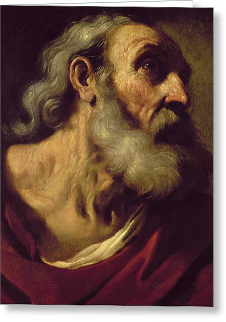 Giovanni Francesco Barbieri Greeting Cards - St. Peter Greeting Card by Guercino