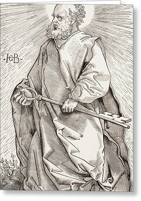 Kingdom Of Heaven Greeting Cards - St. Peter Holding The Keys Of The Kingdom Of Heaven, From Military And Religious Life In The Middle Greeting Card by French School
