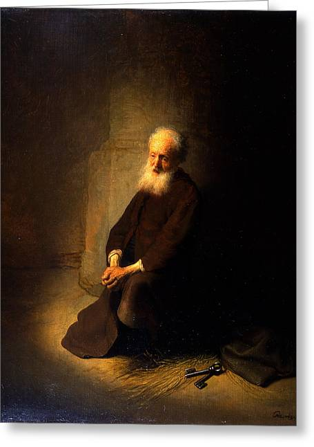 Testament Greeting Cards - St. Peter In Prison, 1631 Greeting Card by Rembrandt Harmensz. van Rijn