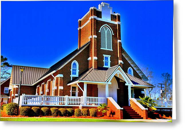 Church Greeting Cards - St. Peter Lutheran Church HDR Greeting Card by Lisa Wooten