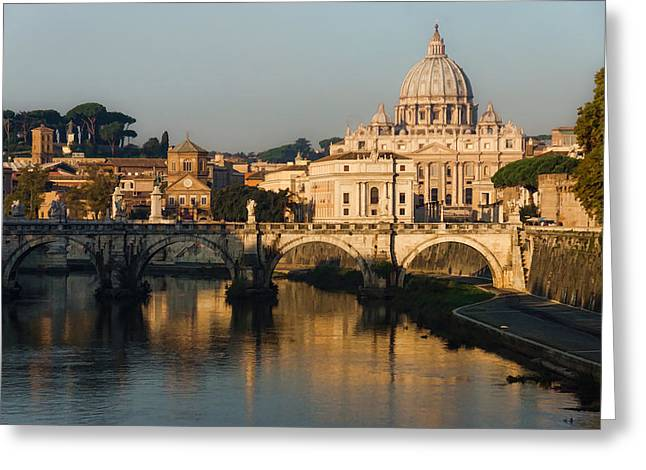 Famous Bridge Greeting Cards - St Peter Morning Glow - Impressions Of Rome Greeting Card by Georgia Mizuleva