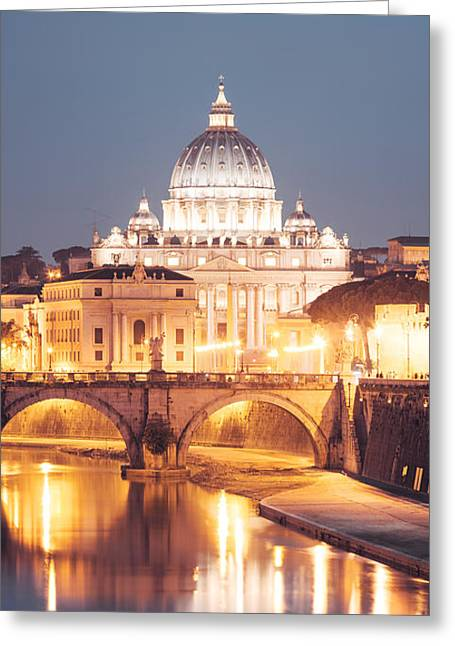 Cupola Greeting Cards - St. Peters basilica at night Greeting Card by Matteo Colombo