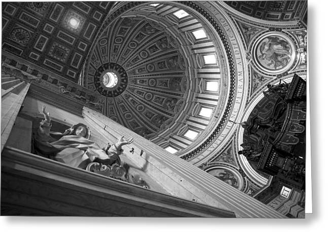 Michelangelo Greeting Cards - St Peters Basilica BW Greeting Card by Chevy Fleet