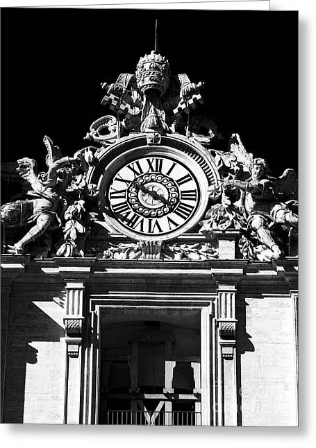 Peter Art Prints Posters Gallery Greeting Cards - St. Peters Basilica Clock Greeting Card by John Rizzuto