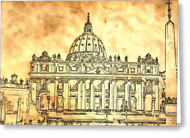 Domes Mixed Media Greeting Cards - St. Peters Basilica Greeting Card by Dan Sproul
