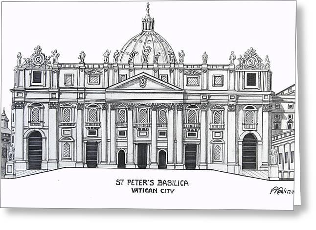 Historic Buildings Of The World Greeting Cards - St Peters Basilica Greeting Card by Frederic Kohli
