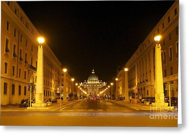 Sight Seeing Greeting Cards - St. Peters Basilica. Via della Conziliazione. Rome Greeting Card by Bernard Jaubert