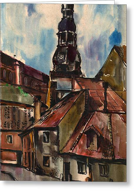 St. Peter's Church In Riga Greeting Card by Anna Lobovikov-Katz