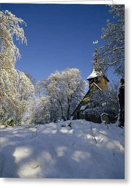 Winter Trees Greeting Cards - St Peters Church in the Snow Greeting Card by Robert Hallmann
