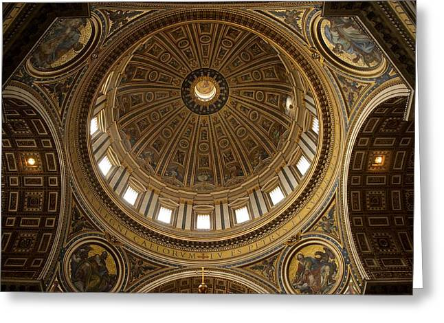 Basilica Di San Pietro Greeting Cards - St Peters Dome Greeting Card by Stephen Taylor