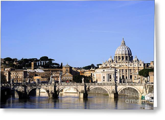 St Peters From The River Tiber Greeting Card by Brenda Kean