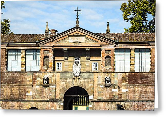 Copper Patina Greeting Cards - St Peters Gate of Lucca Greeting Card by Prints of Italy